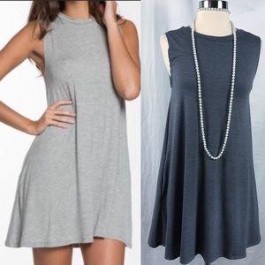 EUC ELAN Sleeveless High-Neck Swing Dress Gray M